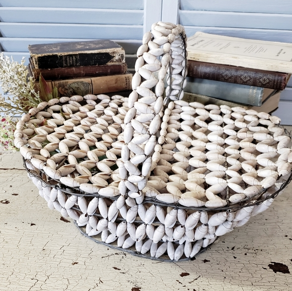 Vintage Seashell Lidded Basket Wire Frame Coastal